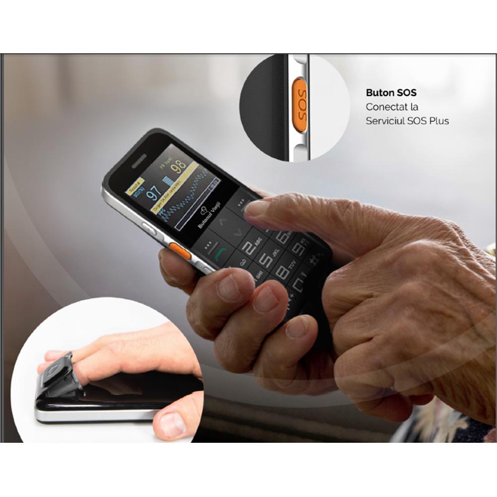 Telefon Senior Butonul Vietii + Abonament SOS 12 Luni Gri