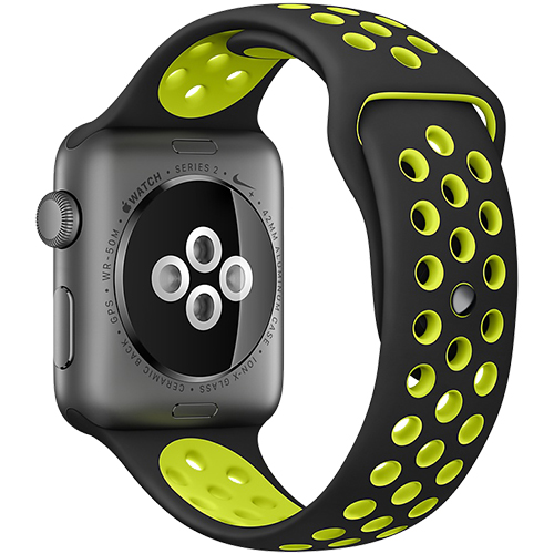 Watch 2 Nike+ Aluminiu Gri 42MM Si Curea Silicon Negru Verde